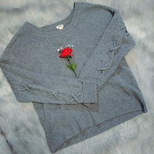 Garage Lightweight Lace-Up Sweater